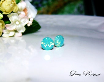 Swarovski Crystal Opal Stud Earrings Post - Color Pacific Green Opal - Hypoallergenic or Metal post - Choose your post