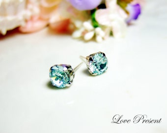 Swarovski Crystal Stud Typical 1.25 Carat Pierced Earrings - Bridesmaid Gift. Simple Modern Jewelry - Color Light Azore