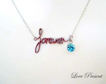 Birthstone Necklace - Forever Classic Elegant Chic Necklace with Sparkly Swarovski Crystal - Choose your color