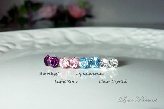 15% OFF -  4 Pairs - Colorful Light Rainbow Elegant Swarovski Crystal earrings stud style post - Choose your color