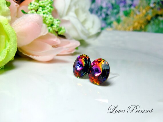 Swarovski Crystal Stud Grand Button Chic Earrings - Color Volcano - Hypoallergenic or Metal post - Choose your post