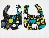 Baby Bib Set Gender Neutral Michael Miller Zoology Animals Baby Girl or Boy
