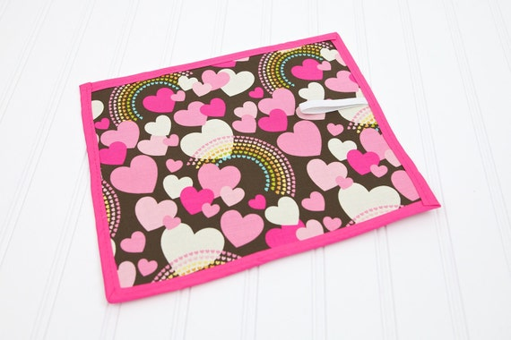 Chalkboard Mat Girl Toy Pink Hearts and Rainbows, Homeschool Writing Mat