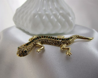 Brooch Vintage Gold Lapel Lizard Unsigned Brooch Women's Teens Jewelry 60's Mad Men Inspired