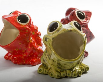 Vintage Scrubby Holder Ceramic Frog Sponge Holder Housewarming Gift , Firecracker Red