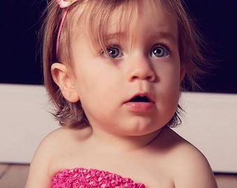pink tipped silk flower on skinny elastic headband - newborn infant baby headband - photo prop