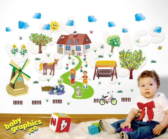 Village wall decals scene:  windmill, pond, trees, horse, house - repositionable (by babygraphics)