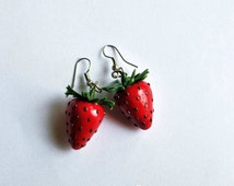 Strawberry Earrings Red Earrings Fruit Earrings