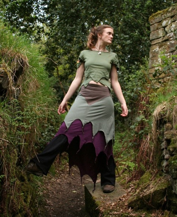 Mountain Ashley Skirt ~ Long Layered Faerie Skirt ~ Cotton Jersey ~ Made to Measure ~ Quintessential forest camouflage for Fairies ~