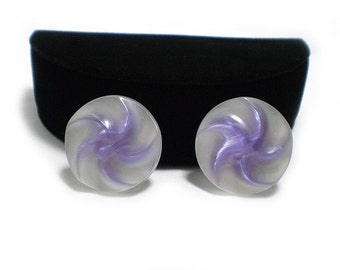 Pretty Moonglow Lucite Earrings in Purple and White