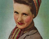 1940s War-era multi-coloured traingular head scarf and matching neck scarf  - vintage knitting pattern PDF (421)