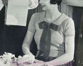 Early 1930s Smart cruise jumper with bow - vintage knitting pattern PDF (305)