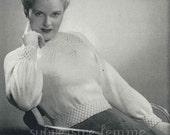 1940s Wistful Pullover with star-smocked yoke, 3 sizes - vintage knitting pattern PDF (435)