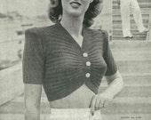 1940s Pin-Up Sailor Girl top - vintage knitting pattern PDF (408)