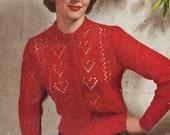 Ten of Hearts Cardigan, c. 1950s - vintage knitting pattern PDF (510)