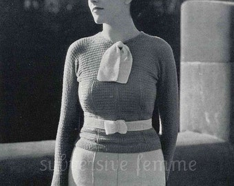 1930s raglan styled jumper with neck tie and matching belt - vintage knitting pattern PDF (315)