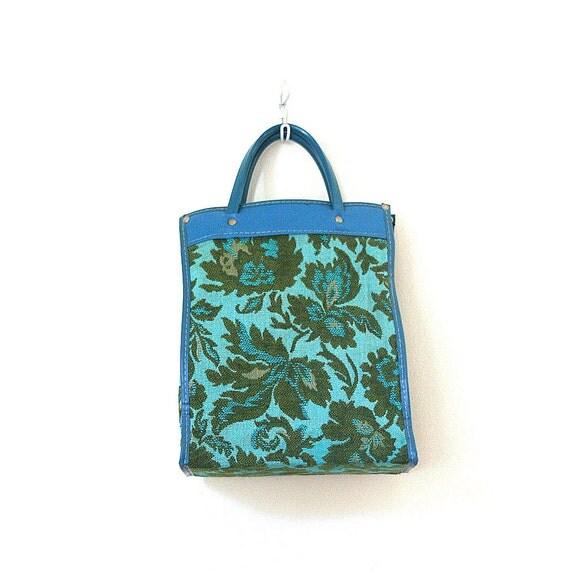 vintage tapestry tote bag - shopper / Turquoise & Olive - retro 1970's / Autumn - bohemian
