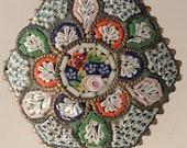 Vintage Mosaic Italian Glass Brooch Pin In Unusual Octagon Shape