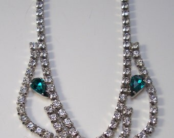Vintage Rhinestone Bridal Necklace Wedding Jewelry Green Crystal