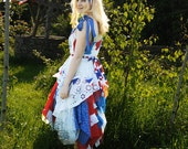 SALE Alice in Wonderland English tea dress British Union Jack or American Flag Red White & Blue dress Size Medium UK 12 US 8