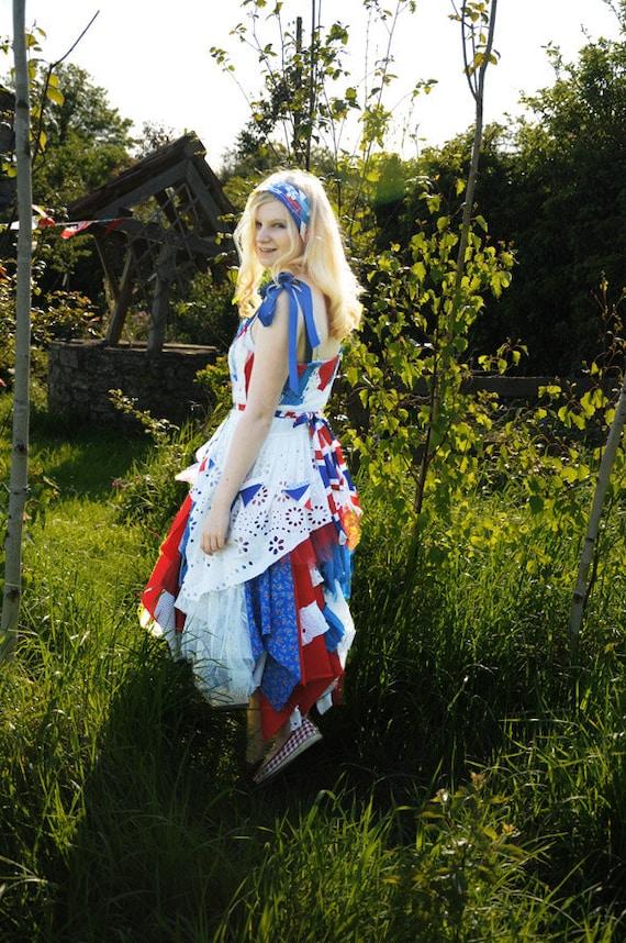 SALE Alice in Wonderland English tea dress British Union Jack or American Flag Red White & Blue dress Size Medium UK 12 US 8