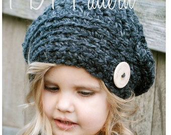 Crochet PATTERN-The Gabrielle Beret (Toddler, Child, and Adult sizes)