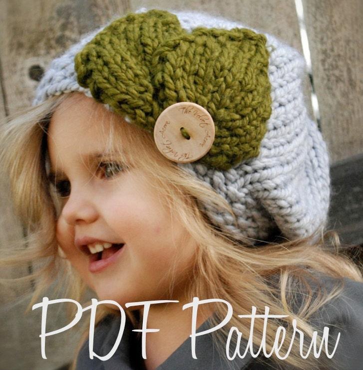 Knitted Beret Pattern Toddler : KNITTING PATTERN-Olivia Beret Toddler Child Adult sizes
