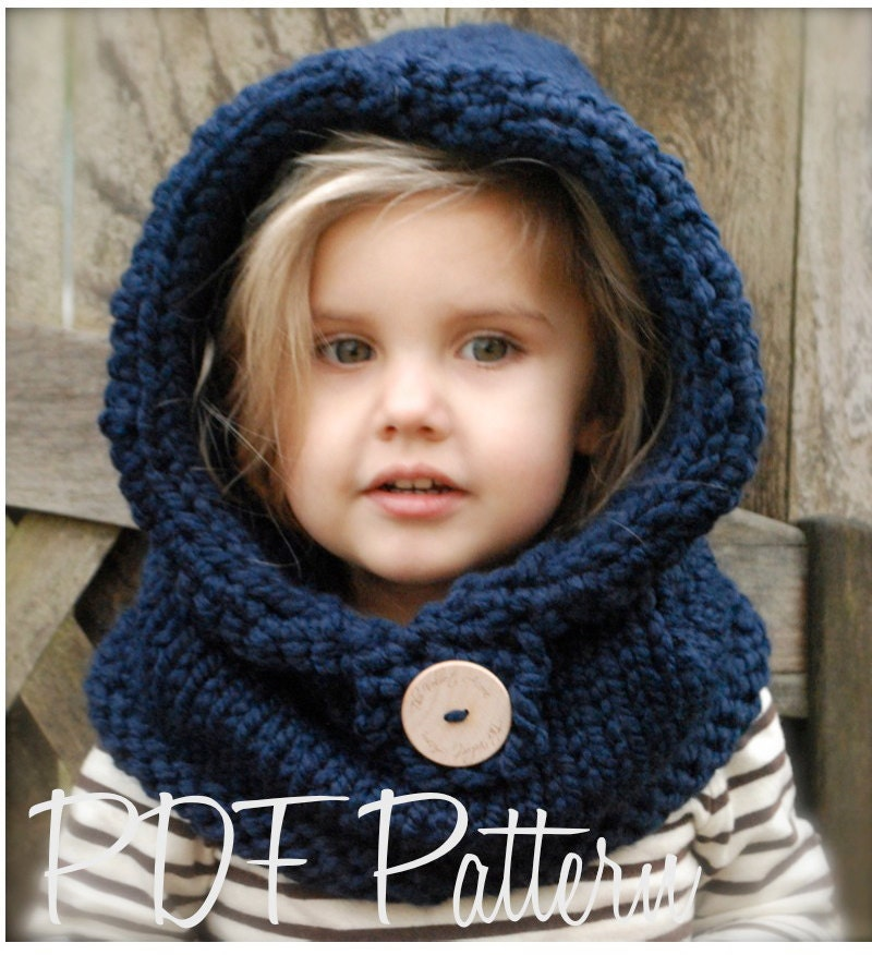 Hooded Cowl Knit Pattern : Knitting PATTERN-The Canyon Cowl ToddlerChild Adult sizes