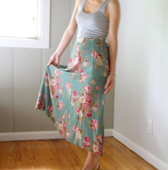 vintage women olive green red pink rose floral printed pleated high waisted midi ankle calf long full skirt (small, 2 4)