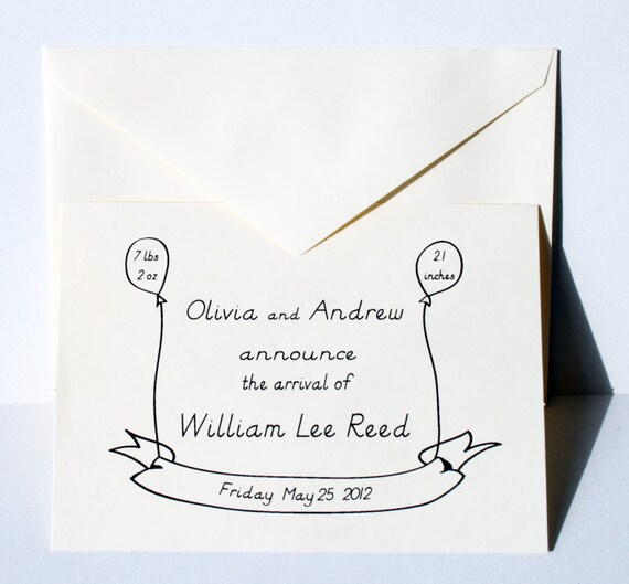 The Birth Announcement -- Little Balloon Banner Flats & Envelopes in Ivory -- CHOOSE YOUR QUANTITY