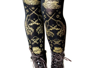 Pirate Tights Narwhals Octopus Tattoo Small Medium Gold on Black Women Nautical Tattoo Sailor Lolita Print Pattern Steampunk
