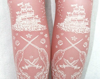 Nautical Pirate Narwhal Socks Stockings Knee High Hold Ups Printed Small Medium White on Rose Pink Women Anchor Octopus Sailor Pastel