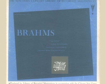 Brahms Tragic Overture, Academic Festival, Waltzes, Variations on a theme by Haydn,1963 Vintage Vinyl Record Album, Classical LP