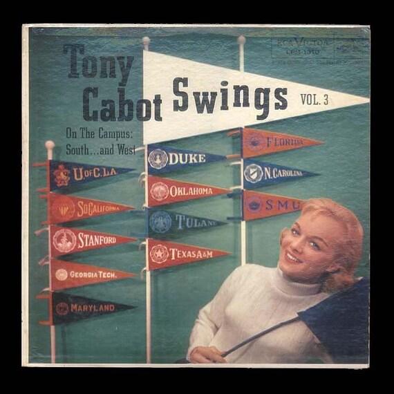College Dorm Room Campus Songs, Vintage Vinyl  Reccord Album, Tony Cabot Swings - Hot Jazz - 1956 RCA  LP