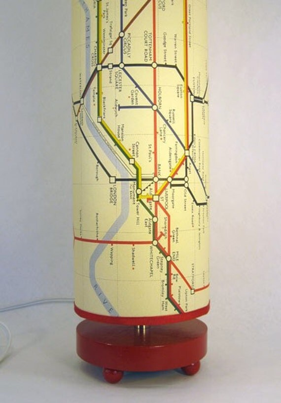 London Map Lamp in telephone box red, or wood