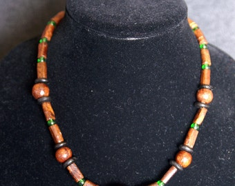 Wood Bead Necklace with Green Glass Bead Accents