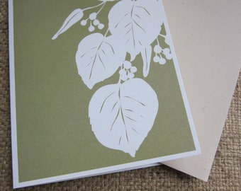 Linden leaf silhouette - folded blank note cards - 8 pack