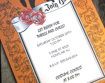 Black Cat Halloween Invites