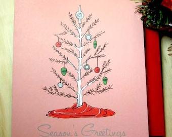 retro christmas tree 10 pack christmas cards - Retro Christmas Trees