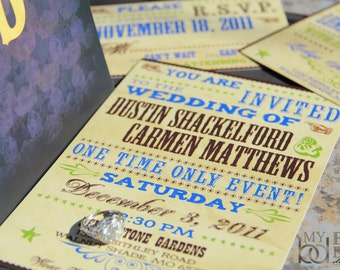 Hatch Show Wedding Invitation Set. Texas stars wedding Invitations. Wanted poster style wedding invitations