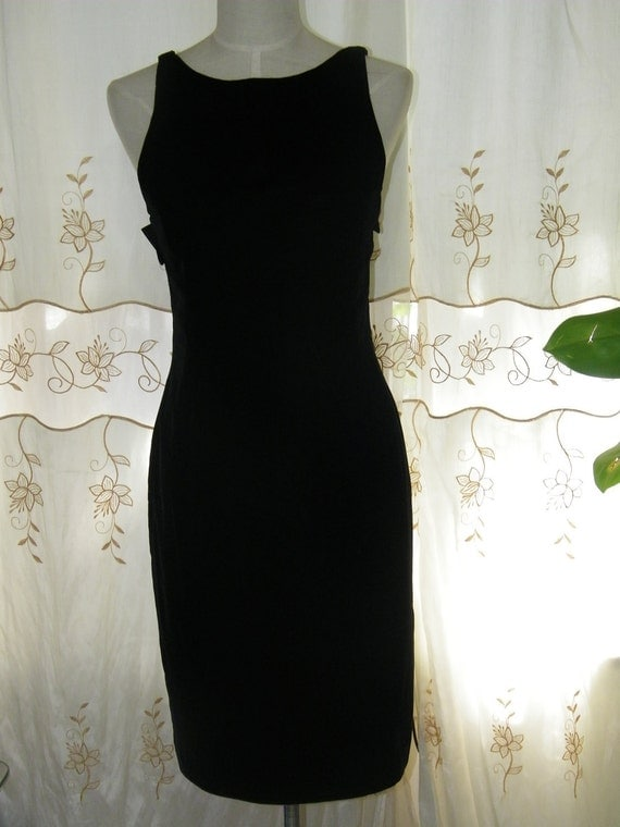 Black Rayon Vintage Anne Klein II Women Size 6 Dress