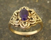 14K Gold and Amythest Ring
