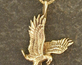 14K Gold Eagle Pendant on a 14K Gold Chain