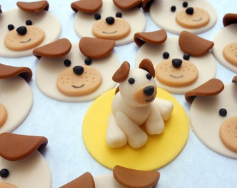 DOG SET Edible Cupcake Toppers - One dozen PLUS 3D figure