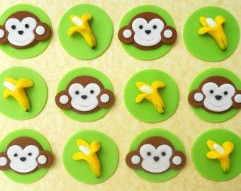 12 Edible MONKEY AND BANANAS Fondant Cupcake Toppers