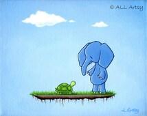 New Friends Series - Nursery Art Painting Print - Elephant Meets Turtle 5x7 matted print - wall art