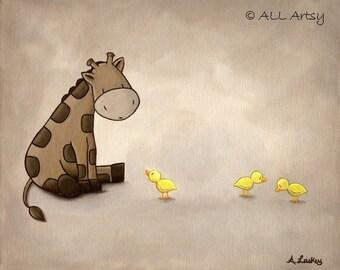 Giraffe Meets Duckies 8x10 matted canvas art print - Nursery Art Painting Print  - childrens wall art