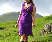 Women's Faux Wrap Sleeveless Dress - Organic Clothing -  Eco Friendly - Purple  - Several Colors Available