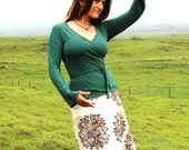 Emerald Green - Long Sleeve Wrap Top - Eco Friendly Jersey  - Organic Clothing - Several Colors Available