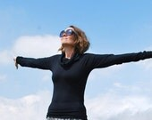 Long Sleeve Cowl Neck Shirt  - Eco Friendly - Organic Clothing - Black Shirt - Several Colors Available